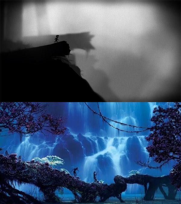 Top: Limbo by Danish developer Playdead. Bottom: Avatar