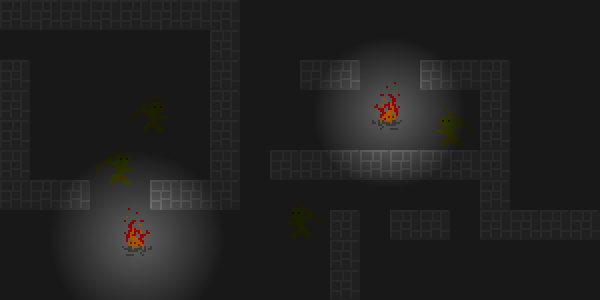 Here's the original screenshot from a fictional game. It takes place in a dungeon, so it's dark. Hard to see anything.