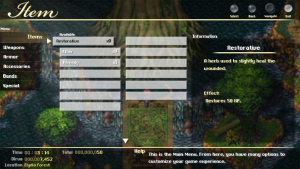 A near final version of EoE's inventory menu