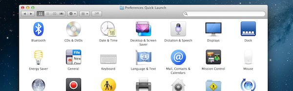 Preferences Quick Launch
