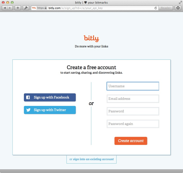 bit.ly developer account sign up