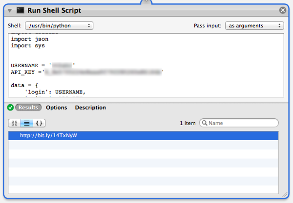 "Check the result of the test to make sure the ""Run Shell Script"" action worked correctly and shortened the URL"