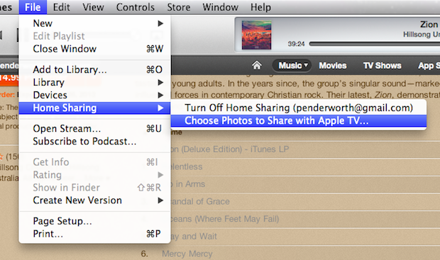 You can also enable photo sharing for Apple TVs.