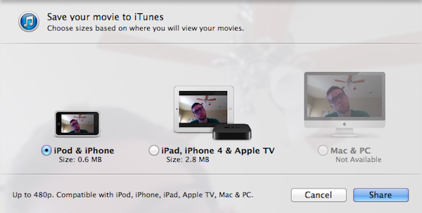 Push a video to iTunes for quick sync to an iOS device.