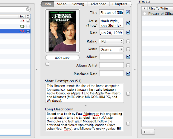 Some fancy options for the videos info These will affect the way it appears in iTunes