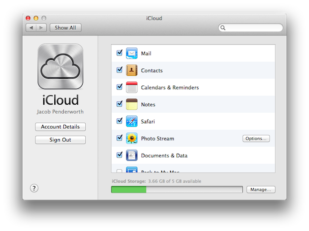 The iCloud pane of System Preferences.