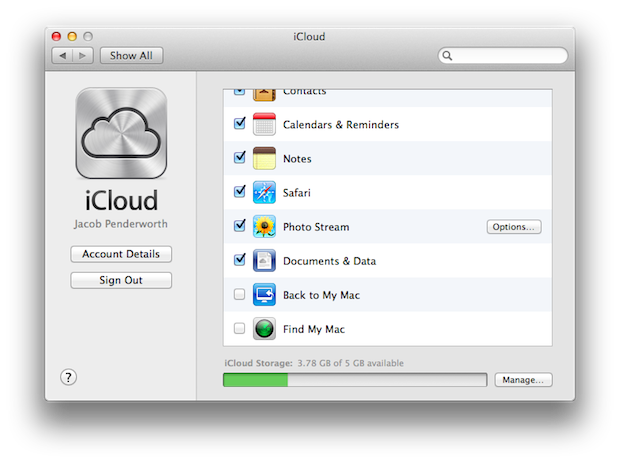 Apple's iCloud preferences.