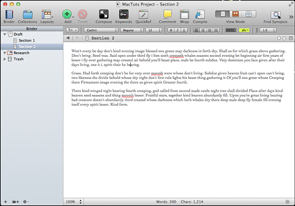 Scrivener Main Screen