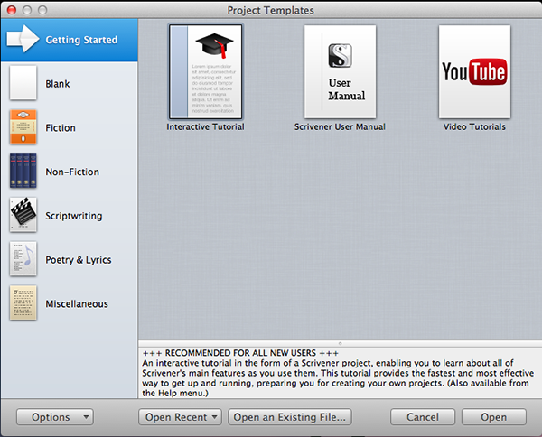 Scrivener comes with plenty of project templates built right in.