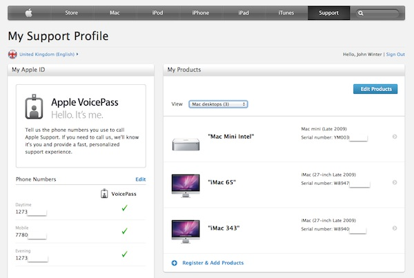 Apple ID is used for Apple Support Profile.