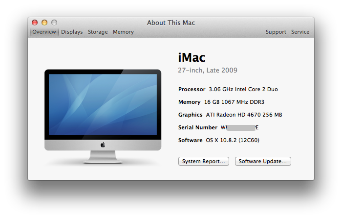 Click on the Apple icon top left of menu bar and select About this Mac then click More info
