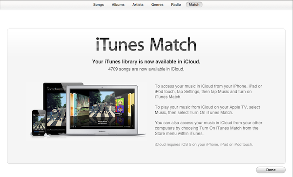 iTunes Match allows the storing of your music in the cloud.