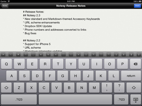 Applications like Notesy on iOS make editing and adding notes on the go easy.