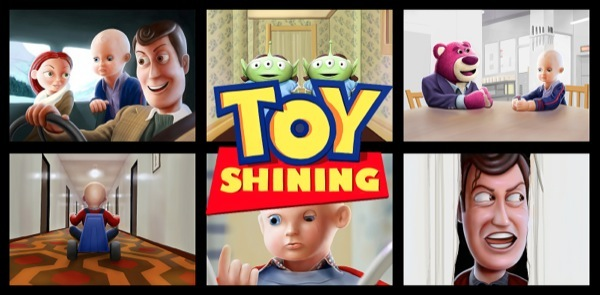 Kyle's Toy Shining illustrations have been widely praised and Lee Unkrich, Director of Toy Story 3, even has a storyboard poster