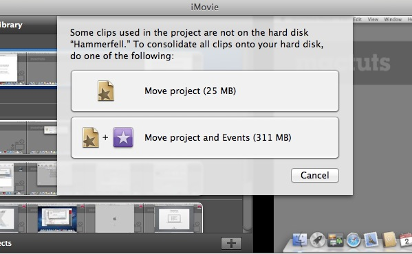 iMovie '11 will prompt if you'd like to just move the project or the events associated with it