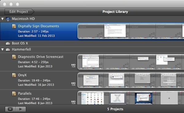 iMovie '11 displays projects on the top-left of the screen