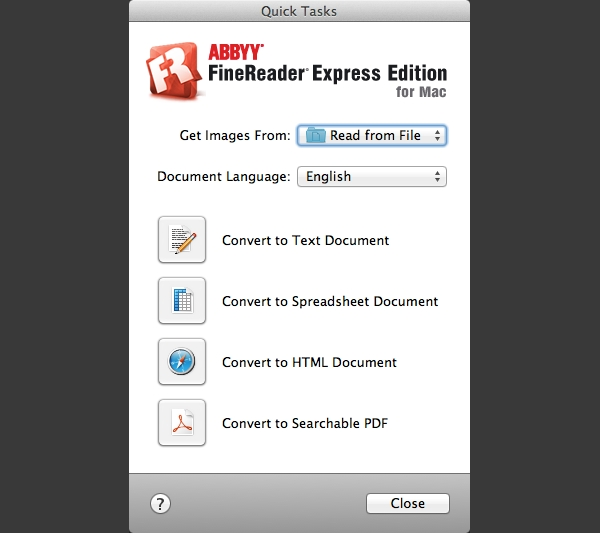ABBY FineReader Express includes a Quick Tasks panel to make OCR easy