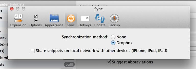 TextExpander Sync Options