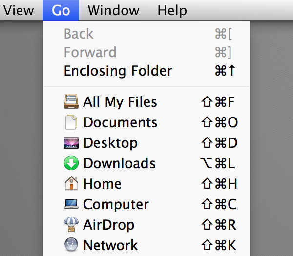 The Go Menu in Finder
