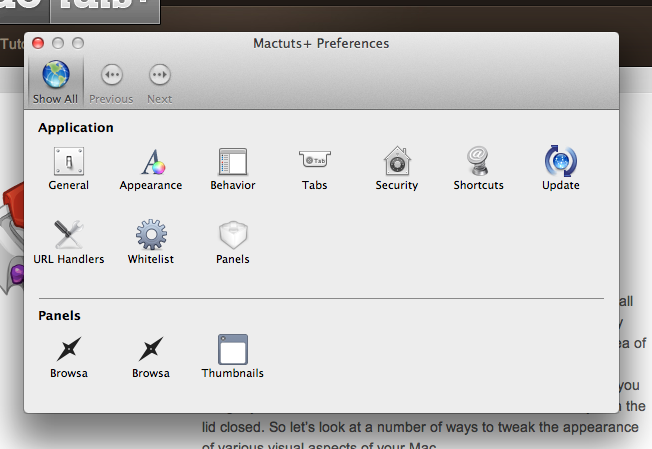 Mactuts+ Application Preferences
