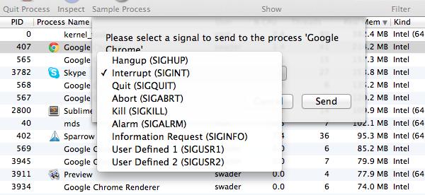 The send signal menu