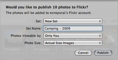 The Flickr sharing menu in Aperture.