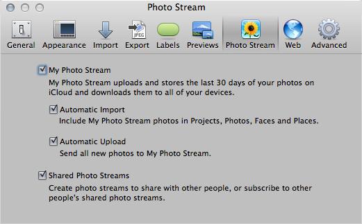 The Photo Stream preferences in Aperture.