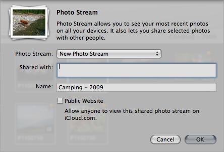 The Photo Stream sharing menu in Aperture.