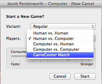 Selecting a match with a human over the Internet.