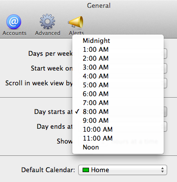 Selecting when the day starts in the General tab.