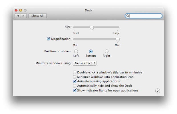 Change all kinds of things in the System Preferences pane for the Dock