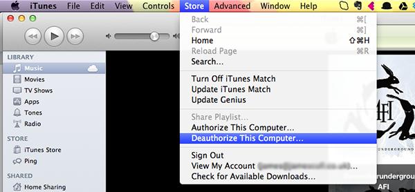 iTunes Deauthorize