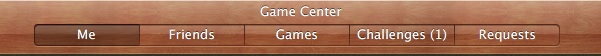 Game Center Menu bar