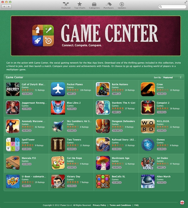 Mac App Store Game Center games