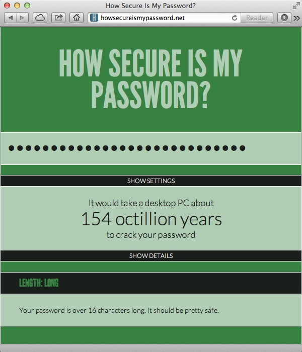 Testing Password Security