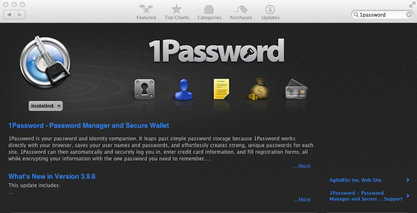 1Password in the Mac App Store