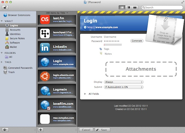 Manually Creating a 1Password Entry