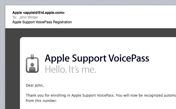 VoicePass Registration Confirmation