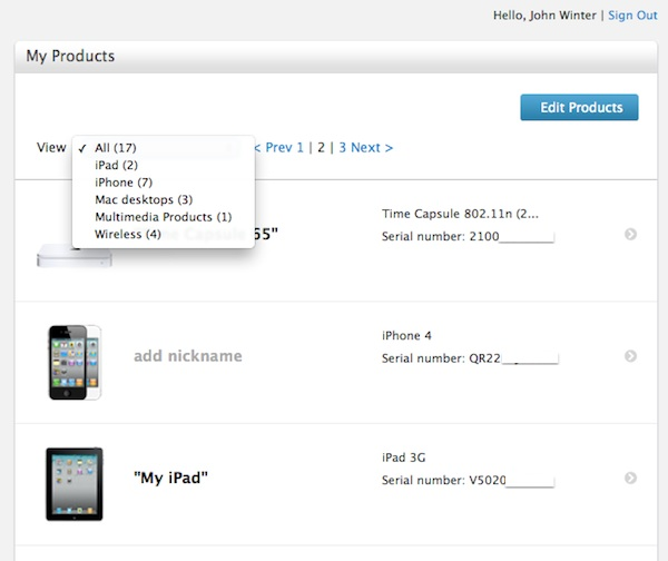 Apple Support Profile Products List