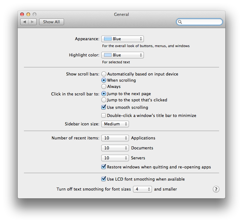 The General pane under System Preferences is a good place to start when you begin customizing the look of your Mac.