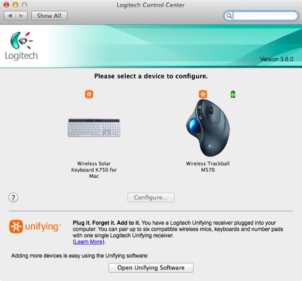 Logitechs Control Center lets you manage any connected Logitech devices