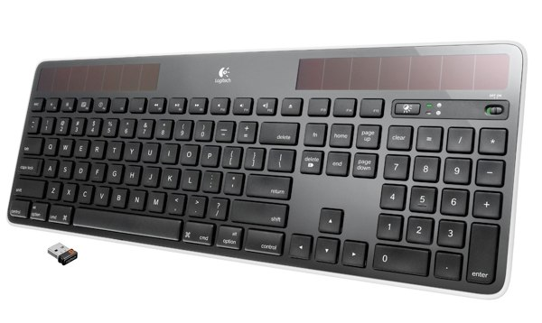 The Logitech K750 keyboard is solar-powered but also includes a Mac keyboard layout