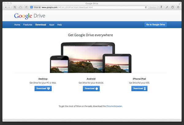Google Drive's main page is similar to Dropbox in that it quickly lets users download the app.