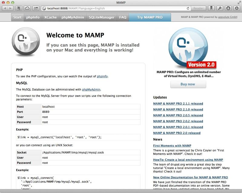 MAMP's start page.