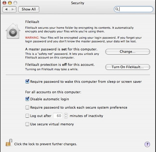 FileVault was probably the scariest of all the system preferences. Look at that red writing! Thankfully, FileVault 2 has much less a reason to be scary!