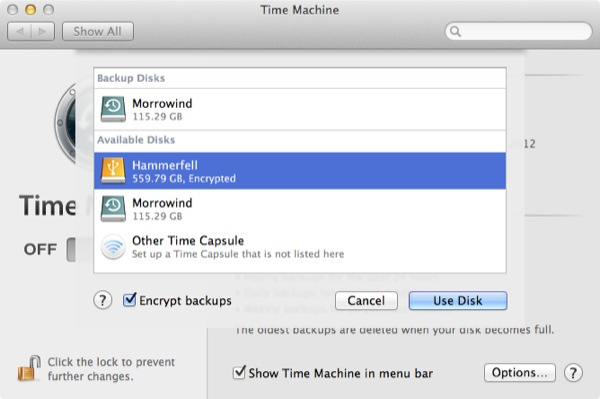 Time Machine lets you encrypt any external drive for Time Machine use, making sure your backup is as protected as your Mac