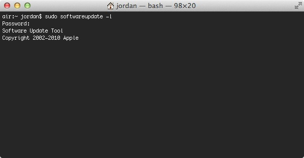 If you have remote access to a Mac or cannot run updates traditionally Terminal is a good alternative