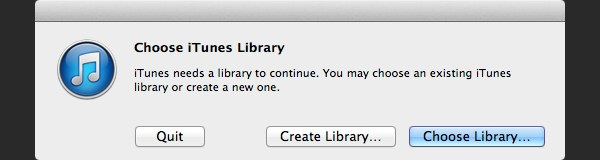 iTunes will display a message to ask you choose a library click Choose Library
