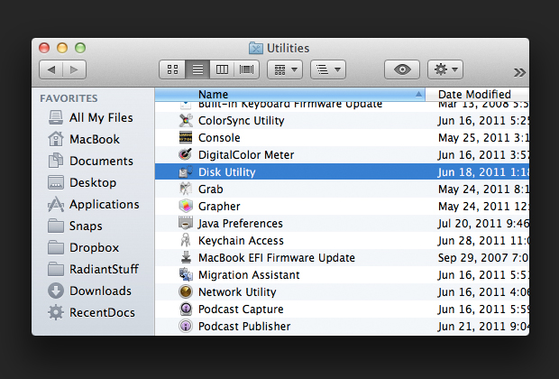 The Utilities folder is inside the Applications folder