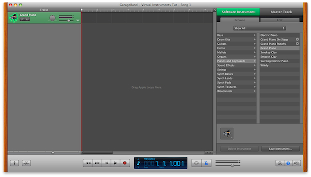 GarageBand's main interface